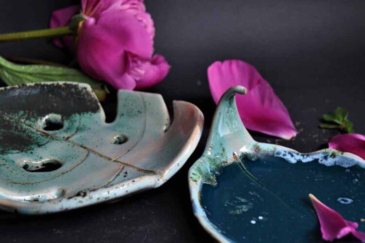 mydelniczka ceramiczna, mydelniczka liść
