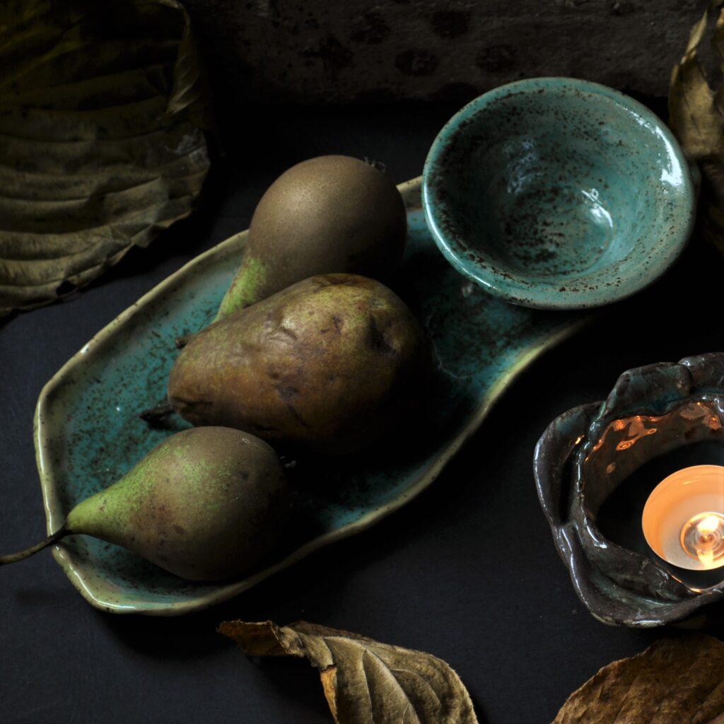 talerz lisc z miska lampion do podgrzewaczy piekne prezenty ceramika elius art min