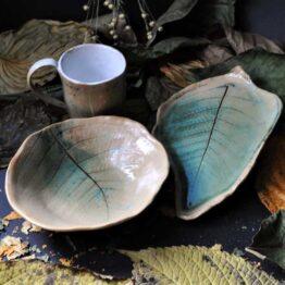 zestaw z kubkiem motyw liścia paproci turkusowa paproć