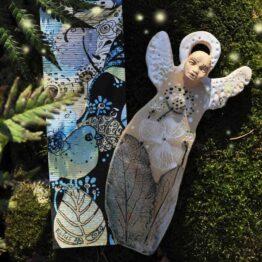 anioł ręcznie robiony ceramiczny z zakładką do książki