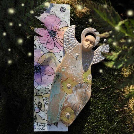 anioł miłości do kwiatów ceramiczny ręcznie robiony