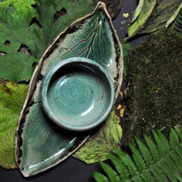 turkusowy komplet ceramiczny handmade