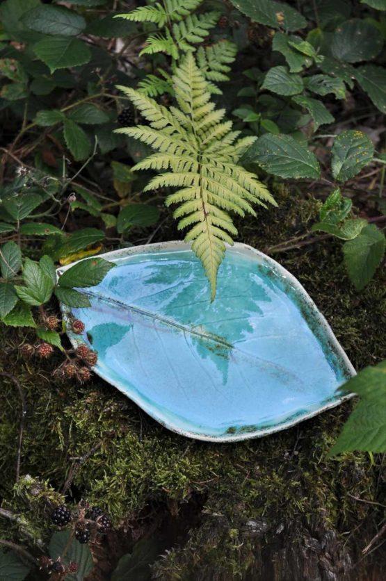 zestaw ceramiczny na sushi niebieski turkus talerz liść z miską