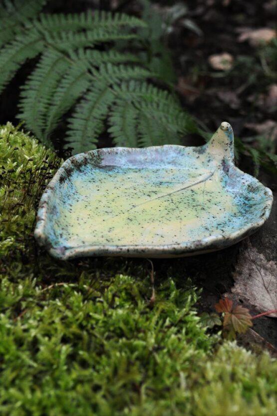 mydelniczka ceramiczna liść turkus żółty