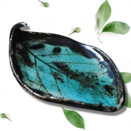 ceramiczna mydelniczka liść kiwi rękodzieło artystyczne turkusowy liść arteliu sklep