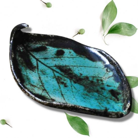 ceramiczna mydelniczka rękodzieło artystyczne turkusowy liść arteliu sklep