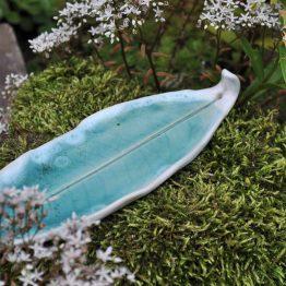 ceramiczna podstawka pod kadzidło turkusowa elius art