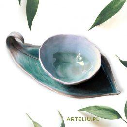 ręcznie robiony zestaw do sushi turkusowy arteliu sklep z ceramiką artystyczną