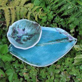 ceramiczny talerz liść z miską komplet na sushi turkusowy
