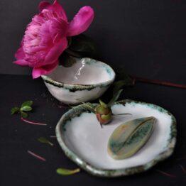 ceramiczny komplet do łazienki biały turkus