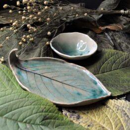 prezent ręcznie robiona ceramika talerz liść z miską