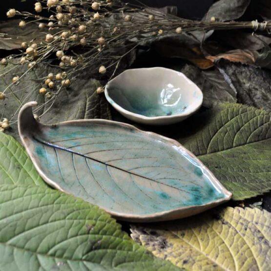 idealny prezent ręcznie robiona ceramika talerz liść