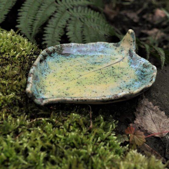 mydelniczka ceramiczna liść kiwi kolor turkus mix radość