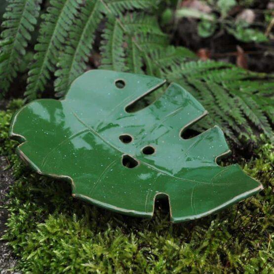 mydelniczka ciemna zielen oliwkowa lisc monstery