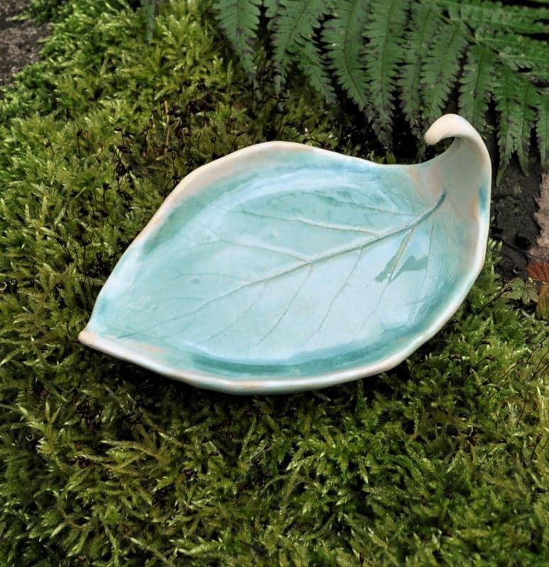 mydelniczka liść kiwi turkusowa, ceramiczna mydelniczka