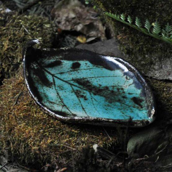 Turkusowa Mydelniczka Liść Kiwi ceramiczna