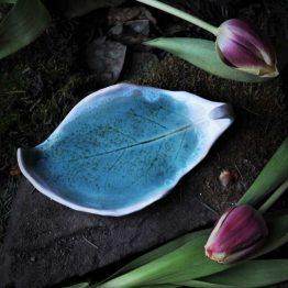 mydelniczka liść rękodzieło błękit z białym rantem