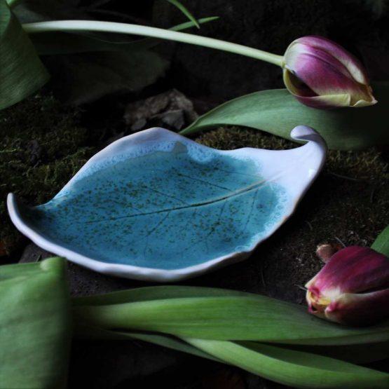 mydelniczka rękodzieło liść ceramiczny turkusowy
