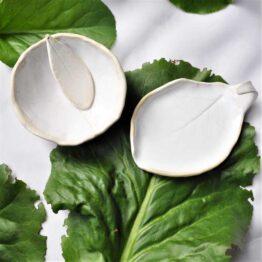 zestaw mydelniczka liść kiwi z miską biała