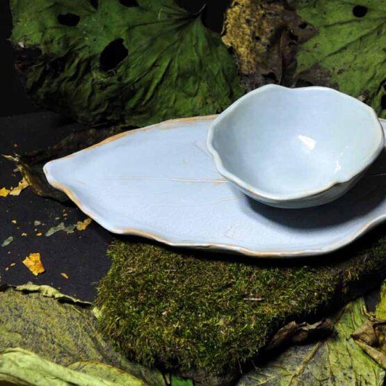szaroniebieski komplet talerz liść z miską