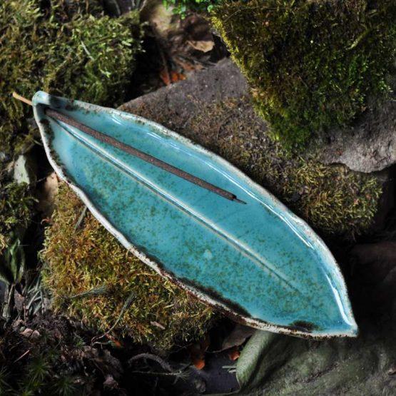 talerz na kadzidła turkusowy unikat ceramiczny
