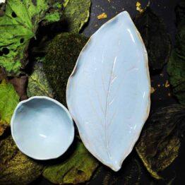 talerz liść z miskami szary niebieski