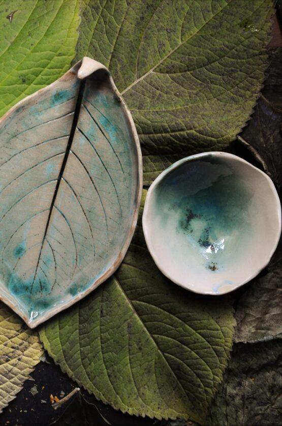 talerz liść z miską rękodzieło ceramika arteliu