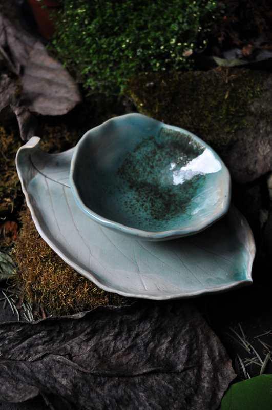 ceramika artystycna zestaw do sushi turkusowy