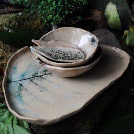 talerz liść z miskami ceramiczny komplet z paprociami arteliu ceramika