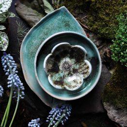 ceramiczny komplet do sushi turkusowy 3 elementy