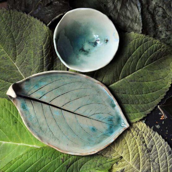 półmisek ceramiczny liść z miską na bakalie lub sake