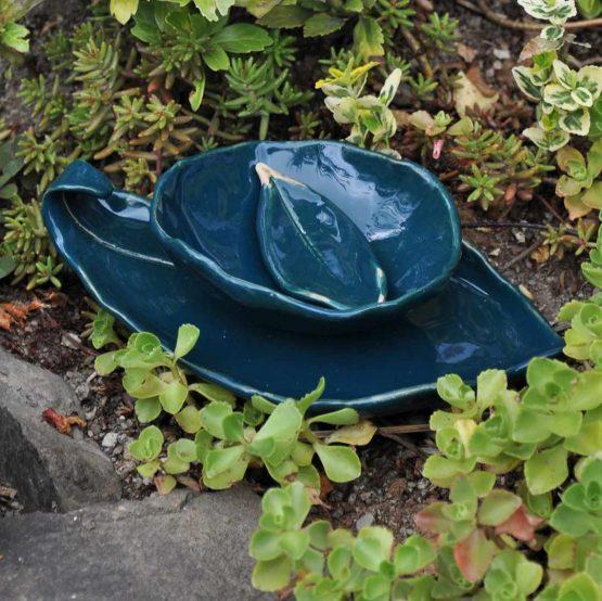 ceramiczny komplet łazienkowy zielony mydelniczka z miską na algi rękodzieło