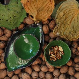 ceramiczny komplet do sushi oliwkowy