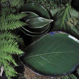 zestaw do sushi z miskami zielony ceramika artystyczna