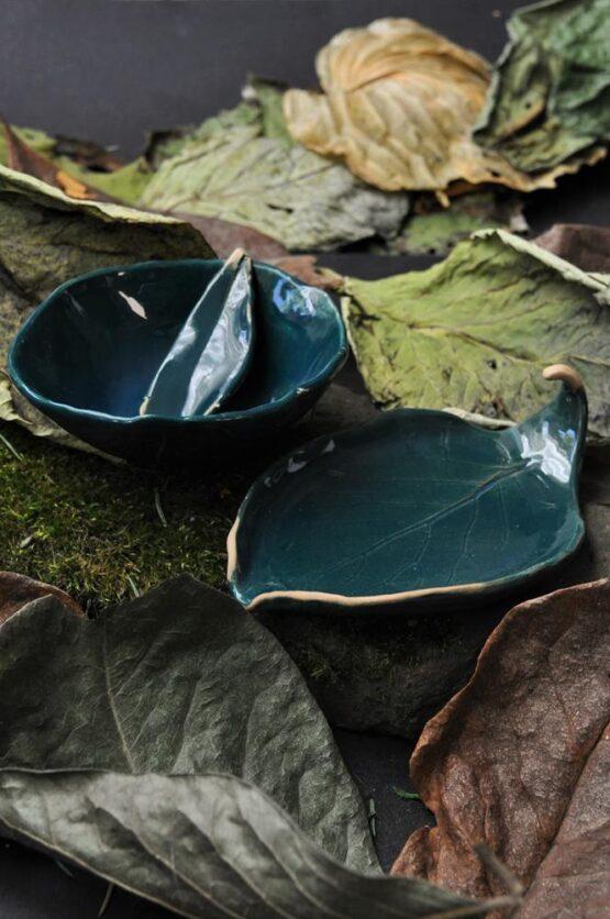 zestaw ceramiczny domowe SPA z miską na glinki i mydelniczką zieleń