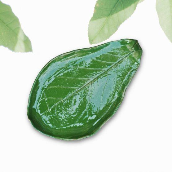 ceramiczna podstawka na biżuterię zielony oliwka handmade