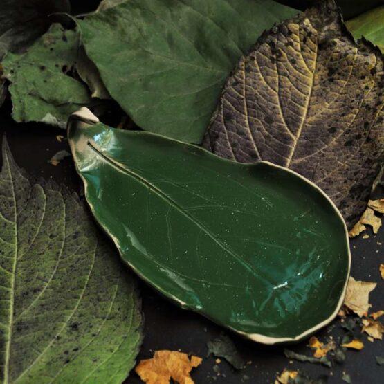 talerzyk na biżuterie oliwkowy ciemna zieleń