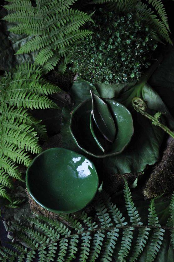 ceramiczny zestaw na sushi zielony liść z miskami prezent rękodzieło