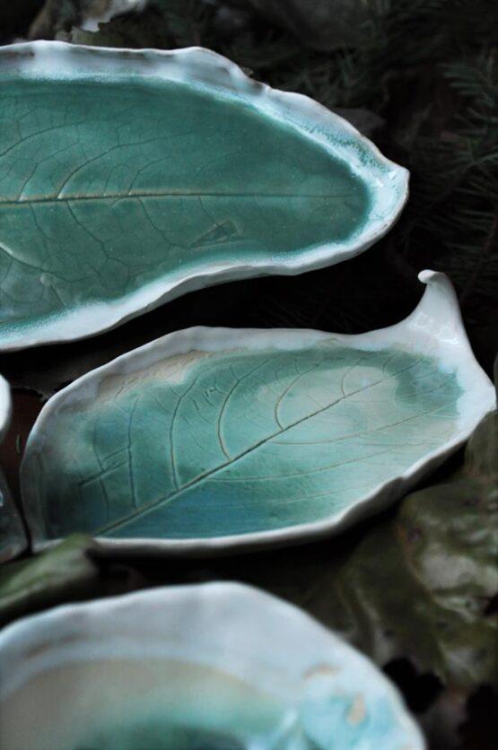 ceramika artystyczna i użytkowa zestaw do sushi turkusowy