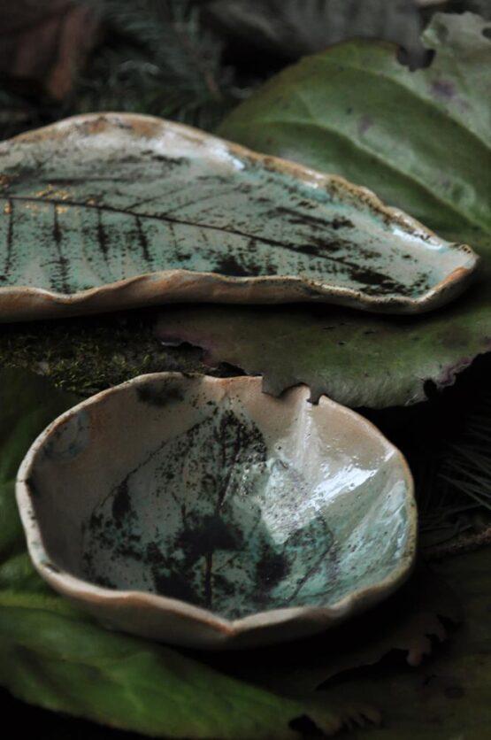 ceramiczny komplet do sushi talerz liść z miską