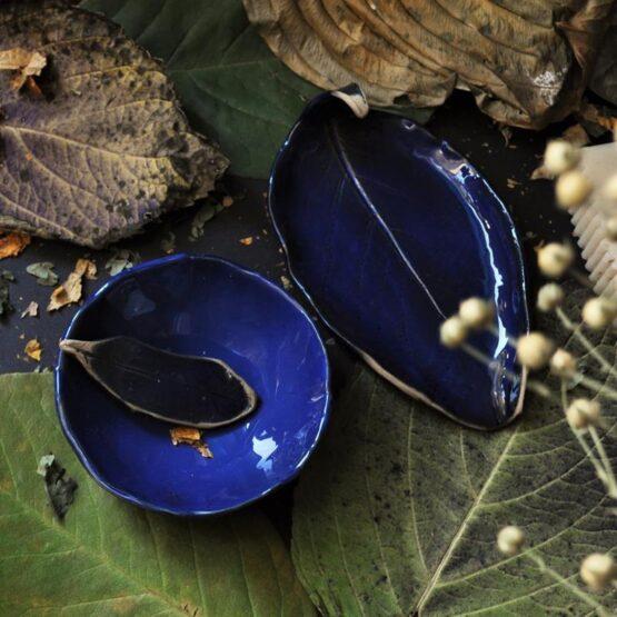 Komplet do łazienki mydelniczka i miska liść kiwi granatowa