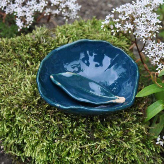 miseczka mała na glinki ze szpatułką na glinki i maseczki zielona turkusowa ręcznie robiona