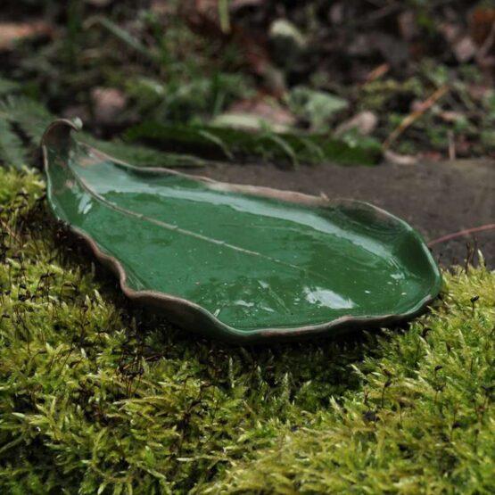 talerz liść na biżuterię oliwkowy
