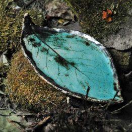 talerz liść pod palo santo kadzidła turkusowy