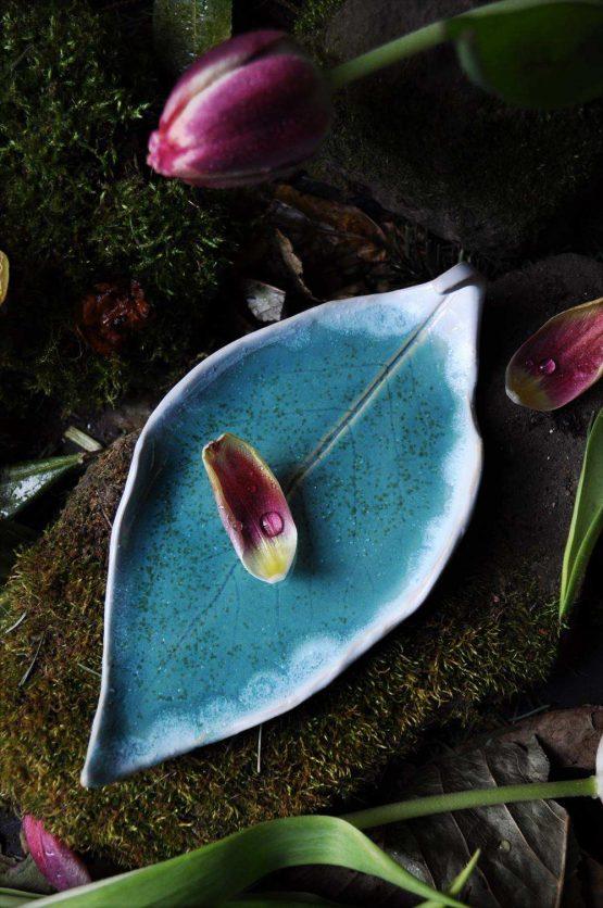 talerz liść na palo santo biżuterię
