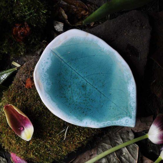 Talerz Liść na biżuterię Turkusowy Morskie Oko
