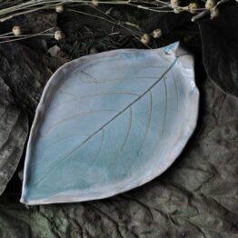 talerz liść na biżuterię turkusowy