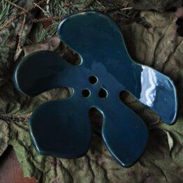 ceramiczna mydelniczka ciemny turkus ręcznie robiona
