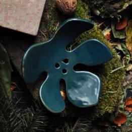 ceramiczna mydelniczka liść zielony turkus