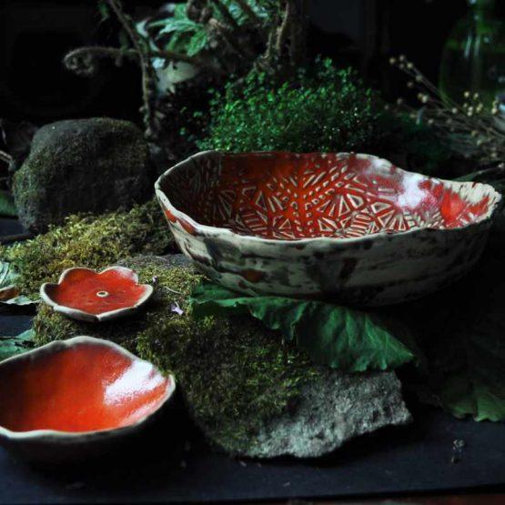 komplet misek ceramicznych mandala czerwona